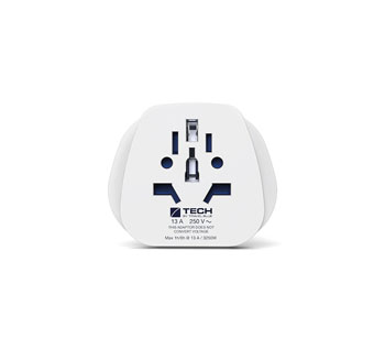 TRAVEL BLUE WORLD TO EUROPE MAINS PLUG ADAPTER