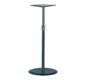 K&M 26740 MONITOR LOUDSPEAKER STAND Floor, round base, plate mount, up to 35kg, 650-1430mm, black