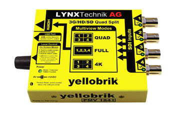 LYNX YELLOBRIK QUAD SPLIT MULTIVIEWER AND SIGNAL MONITOR - 3G/HD/SD-SDI - with 4K (4x 3G) option
