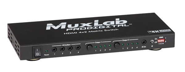 MUXLAB 500442 HDMI SWITCH MATRICE 4x2, HDCP 1.3, 4K, couleur 48 bit, audio HD