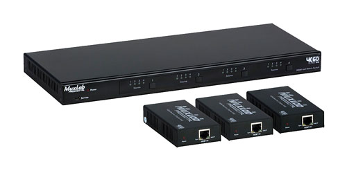MUXLAB 500412 HDMI KIT SWITCH MATRICE 4x4, 3x récept.PoC HDBT, 1x switch matrice, RS232, IR, TCP/IP