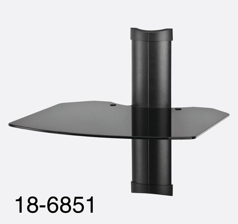 omnimount tria 1 etagere murale 1x tag re noire en verre. Black Bedroom Furniture Sets. Home Design Ideas