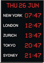 WHARTON 4700N/5.05.R.S.UK TIME ZONE CLOCK Vertical, 50mm red characters, surface mount
